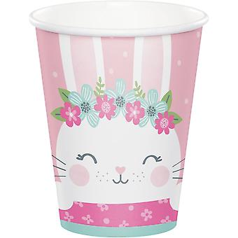 Birthday Bunny Cute Paper Party Cups x 8
