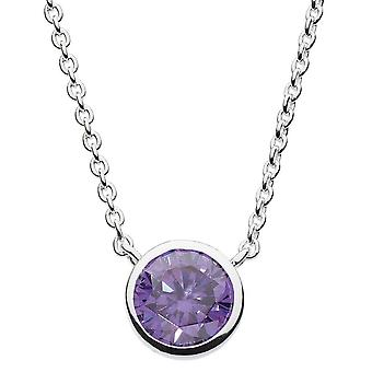 Dew Sterling Silver Round Purple Cubic Zirconia 18 Necklace 9729PCZ024