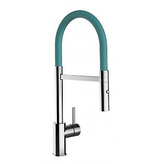 Kitchen Single-lever Sink Mixer With Turquoise Movable Spout And 2 Jets Shower - Low Version 43 Cm - 556