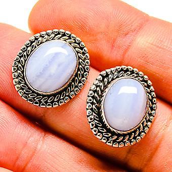 """Blue Lace Agate Earrings 3/4"""" (925 Sterling Silver)  - Handmade Boho Vintage Jewelry EARR407517"""