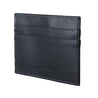 Miljardööri Italian Couture sininen nahka kortinhaltija lompakko