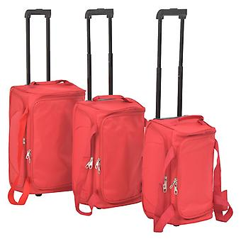 Travel suitcase set 3-pc. Soft shell Red