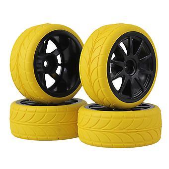 RC1:10 Zwart 10 Spaakwiel Velg en geel pijlpatroon rubberbandenpakket van 4