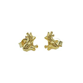 Stud Earrings Frog With Crown 9k Gold