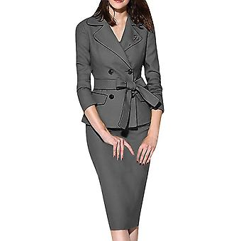Women's Blazer Office Work Skirt Suits, Fashion Notched Button, Long Sleeve