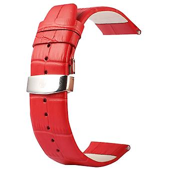 Kakapi for Apple Watch 38mm Crocodile Texture Double Buckle Genuine Leather Watchband, Only Used in Conjunction with Connectors (S-AW-3291)(Red)