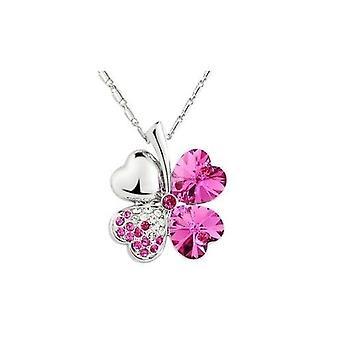 Ruby Pink - Swarovski Elements Crystal fire Leaf Clover anheng halskjede