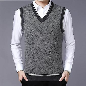 سترات رجال، Pullovers V الرقبة سليم صالح، البلوزات سترة التريكو، بلا أكمام،