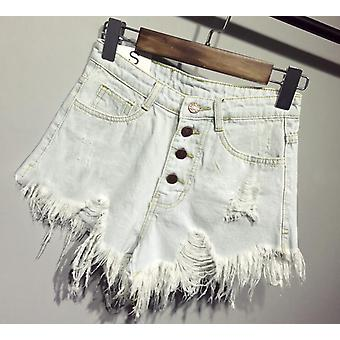 Summer Cool Denim Booty Shorts High Waisted Fur-lined Leg-openings Short Jeans