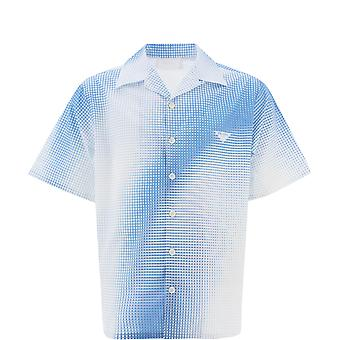 Prada Ucs3961yiif0v5n Men's Light Blue Cotton Shirt