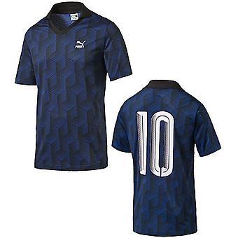 بوما لكرة القدم جيرسي الرجال قصيرة كم الأزرق طباعة بولو تي شيرت 570411 01 A8C