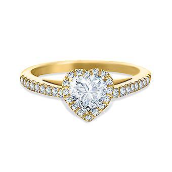 Ring Wedding Solitaire Diamond Heart-cut 1 carat on 18K Gold