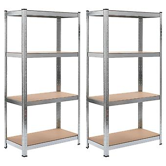 Storage shelves 2 pcs. silver 80 x 40 x 160 cm steel and MDF