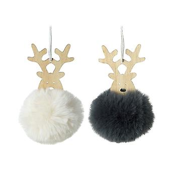 Wooden Reindeer Heads With Pompom Bodies (set of 2)