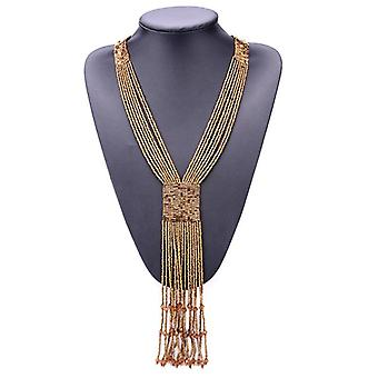 Fashion Graceful Boho Long Tassel Red Seed Bead Hand-woven Necklace