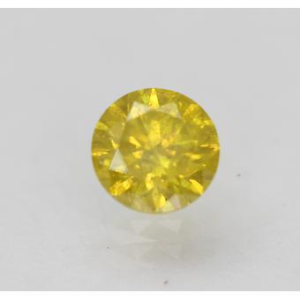 Cert 0,54 karat elävä keltainen SI2 pyöreä brilliant parannettu luonnollinen timantti 5,17mm