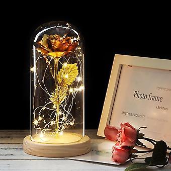 Keinotekoinen ikuinen ruusu johti valokauneuteen lasikannen