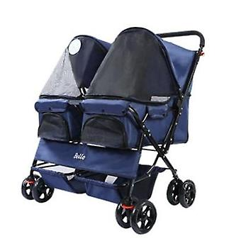 Easy Walk, Folding Two Dog, Two Cat, Double Stroller, Pet Twin Baby Travel