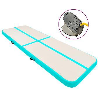 Inflatable Gymnastics Mat With Pump 300x100x15 Cm Pvc Green