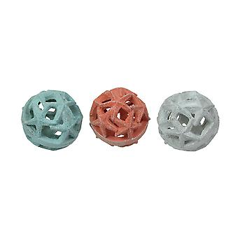 Set of 3 Resin Starfish Orb Accessories Decorative Table Balls Accent Decor