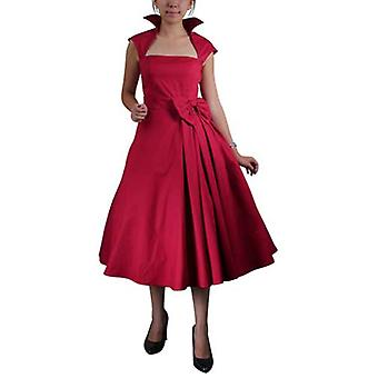 Chic Star Retro Belted Pleat Dress In Red