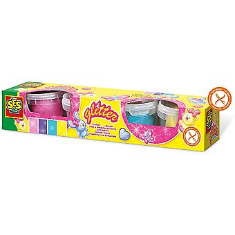 SES CREATIVE Childrens Glitter Clay Modelling Dough Set - 4 färgkrukor (00466)