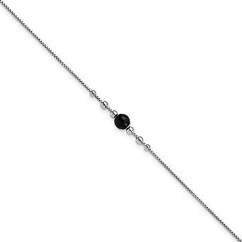 925 Sterling Silver Rh pl 5,75mm fekete szimulált Onyx 1,25inch Ext. Anklet 9 Inch ékszer ajándékok nőknek