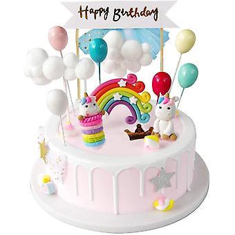 FengChun Tortendeko Einhorn Geburtstag Kuchen Regenbogen Alles Gute zum Geburtstag Girlande Luftballon Wolke