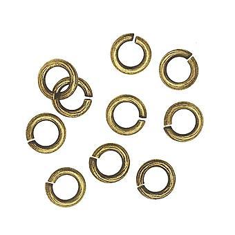 Nunn Design Jump Ring, Kaarna kuvioitu avoin 16 Gauge, 6,5mm, 10 kpl, Antiikki kultaa