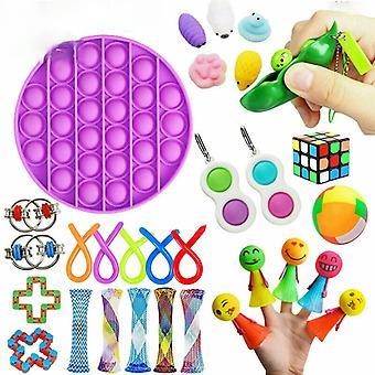 28/30 Pcs Sensory Fidget Toys Bundle Stress Relief With Fidget Hand Toys Rainbow Rubik Cube Five Finger Push Bubbles Unzip Ball Toys