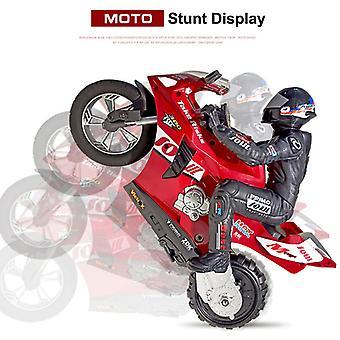 RC motorfiets radio control auto op afstand bestuurbare speelgoed motor model kit stunt speelgoed voor jongens (rood)