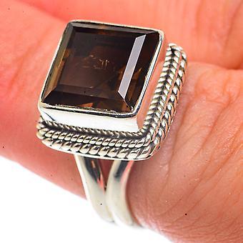 Smoky Quartz Ring Size 6.25 (925 Sterling Silver)  - Handmade Boho Vintage Jewelry RING66619