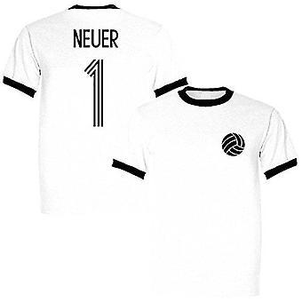Sporting empire manuel neuer 1 germany legend ringer retro t-shirt white/black