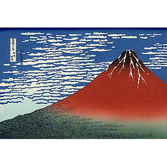 Katsushika Hokusai Fuji, Mountains In Clear Weather Japanese Painting Ukiyo-e. Hd Art Print Poster Canvas Prints Wall Art For Home Decor Pictures (unf