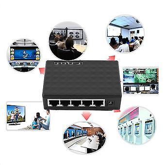 5 portti 100/1000 Mbps Työpöytä Ethernet Verkko Lan Virtalähde Kytkin Keskitin