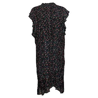 Sam Edelman Plus Dress Ditsy Floral Print w/ Side Ruching Black A371518