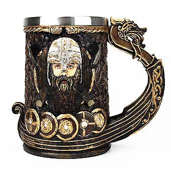 Mug 304 Stainless Steel Insert Resin Nordic God Odin Coffee Beer Mugs(gold)