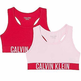 Calvin Klein Girls 2 Pakkaus Intense Power Bralette, Romanttinen Vaaleanpunainen / Flushed Punainen, 12-14 Vuotta