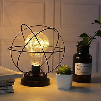Table Lamp Made Of Modern Black Wire Made Of Iron - Cage Style - Retro Bedside Lamp - Works With
