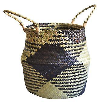 (27*24cm) Seagrass Belly Woven Storage Wicker Basket Plant Straw Pot Holder Case Organizer