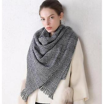 Scarf Black And White Classic Cashmere Plaid Scarf Women Shawl Dual-use