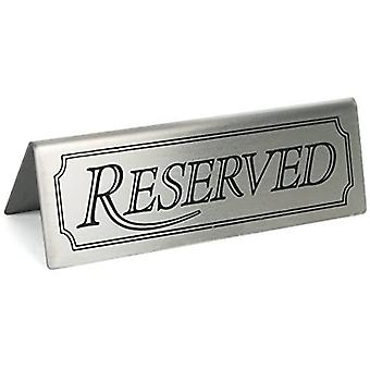 Drinkstuff reserved sign - set of 5 | stainless steel restaurant table signs | reserved tent signs for restaurants, hotels and cafes