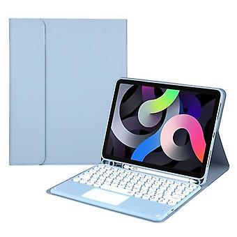 Store bogstaver i rundt tastetastatur, Bluetooth-tastaturetui til 2020 ipad air 4/10.9 Tastaturer(blå)