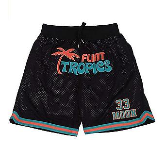 Men's 33 Jackie Moon Sport Pants Flint Tropics Semi Pro Movie Basketball Shorts Stitched
