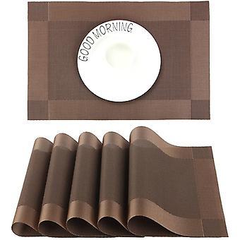 Hitzebeständiges, rutschfestes PVC rechteckiges Tischset, geeignet für Esszimmer, Küche oder Esstisch, 45 x 30 cm, Set 6 Stück, braun