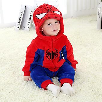 Kinderkostüm Halloween Kostüm Spiderman Pyjama 0-36 Monate Baby Kapuze Cosplay Anzug Weich flanell Winterjacke mit Reißverschluss