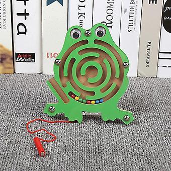 Brinquedos infantis Jogo de quebra-cabeça de labirinto de caneta magnética de madeira para estimular o cérebro-(sapo)