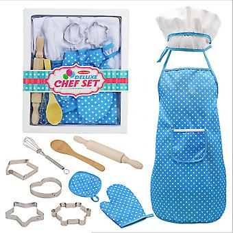Childrens Apron With Chefs Hat, 11-piece Cooking Set, Toddlers Apron, Chefs Kitchen Baking Tools