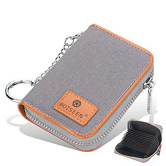 Credit Card Wallet, Zipper Card Cases Holder For Men Women, Rfid Blocking, Key Chain, Compact Size Grey