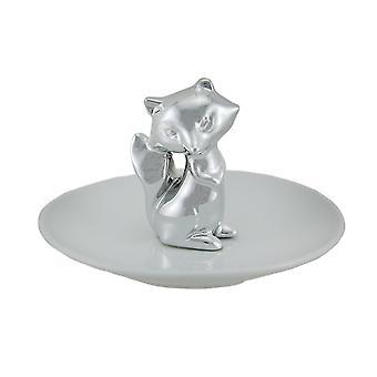 Raposa de prata em joias de cerâmica branca/Trinket prato 5 polegadas
